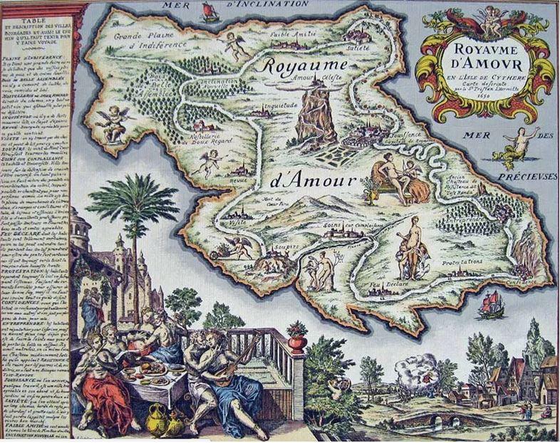 On voit la carte de la Préciosité aussi appelée carte du Tendre où son placés des lieux symbolisant l'amour courtois utilisés par Mme de Scudéry dans Clélie histoire romaine.