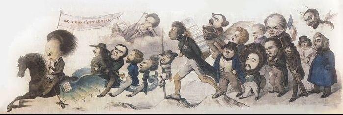 On voit les auteurs qui constituent le romantisme: Victor Hugo en chef de file, puis Alexandre Dumas, Théophile Gautier et les autres.