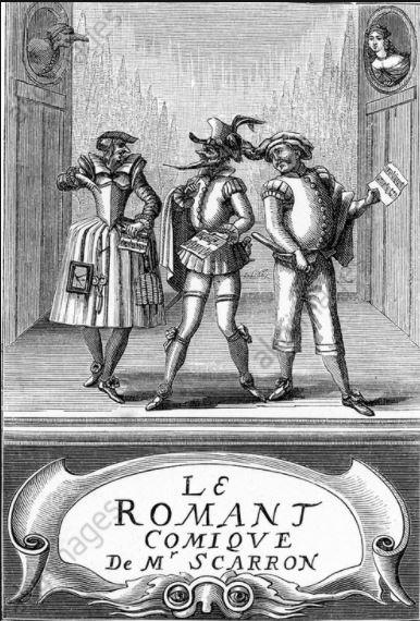 Nous voyons le frontispice du roman, le roman comique de Scarron. On y aperçoit les personnages sur une scène de théâtre.