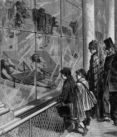 On voit Thérèse Raquin scène morgue chapitre 13 car des gens regardent les corps exposés à la morgue de Paris au XIXème siècle.