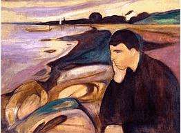 On voit Baudelaire spleen représenté dans le tableau de Munch intitulé melancolia. Un homme est pensif devant la mer, il semble atteint de dépression.
