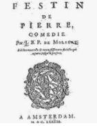 On voit la page de titre dom juan ou le festin de pierre de Molière.