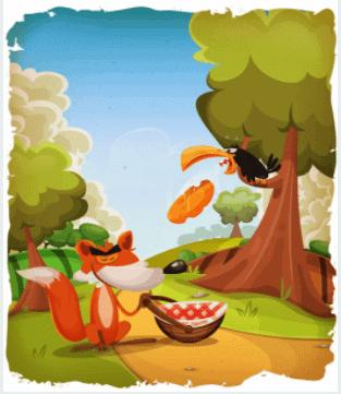 On voit le corbeau et le renard de la fable de la fontaine dans un dessin très coloré et léger.