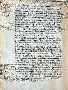 On voit une page des Essais de Montaigne qui montre bien l'originalité littéraire et philosophique de l'auteur.