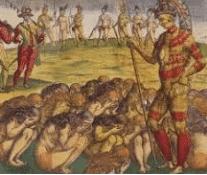 On voit les cannibales de Montaigne représentés dans un tableau.