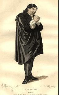 On voit Tartuffe réfléchir seul avec hypocrisie.