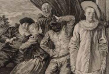 On voit une mise en scène des fausses confidences de Marivaux selon les règles du théâtre à l'italienne.