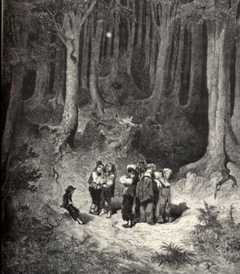 On voit le Petit Poucet de Charles Perrault et ses frères perdus dans les bois.
