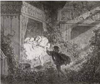 On voit la belle au bois dormant histoire de Charles Perrault, celle-ci est endormie depuis un siècle quand le prince charmant arrive.