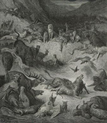 On voit l'illustration de la fable les animaux malades de la peste de Jean de La Fontaine.