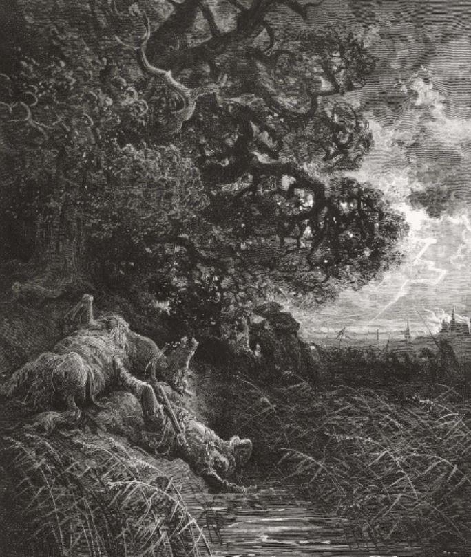 On voit le chêne et le roseau illustré par Gustave Doré.